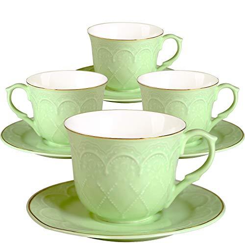 4 tazzine caffè con piattino rosa osso porcellana 220 ml colazione tazze (green)