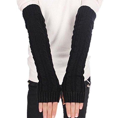BACKSPORT Damen Mädchen Fingerlos Armstulpen Handschuhe gestrickt Lang - 4