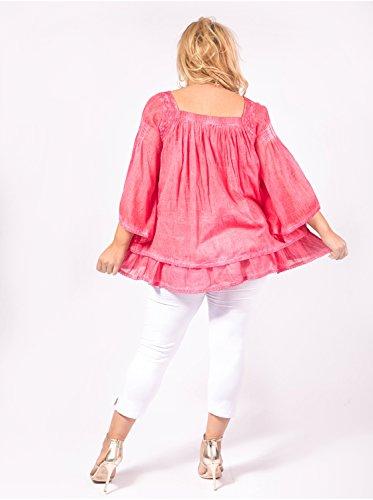 Vêtement Femme Grande Taille Tunique Courte Rose Rose