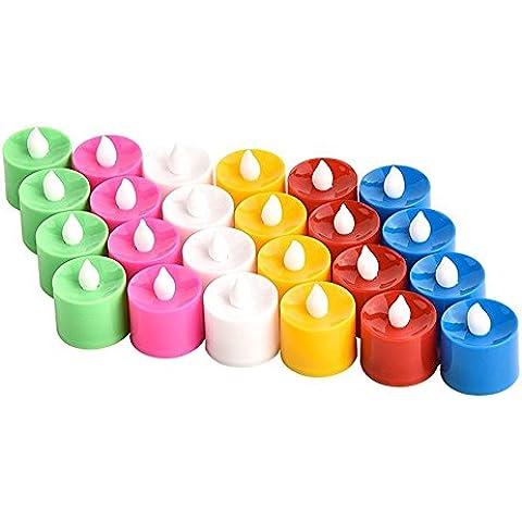 Rightwell Set da 24 Pezzi Tremolante Candele LED Alimentata da Batterie,Ideali per Feste,Matrimonio,Natale,Decorazioni,Atmosfere Notturne(Multicolor)