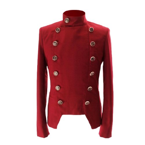 Hommes - Blazer manches longues boutonnage double col convertible poches red
