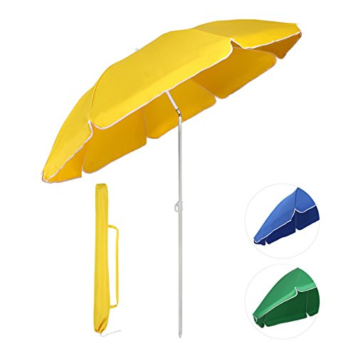 Sekey® Sonnenschirm Ø 160 cm Marktschirm Gartenschirm Terrassenschirm Gelb Rund Sonnenschutz UV20+