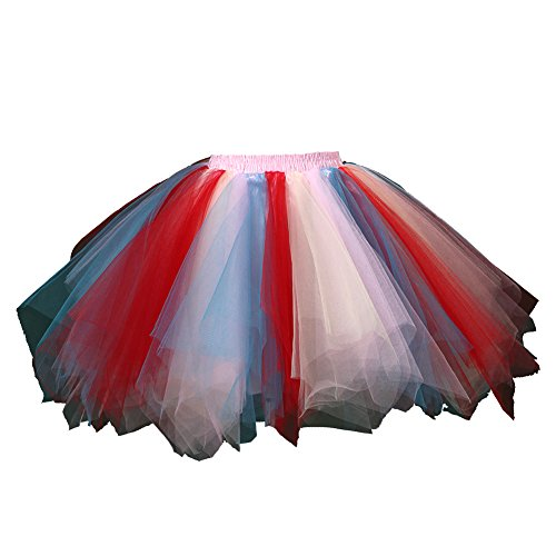 Honeystore Damen's Tutu Unterkleid Rock Abschlussball Abend Gelegenheit Zubehör Blau Rot Rosa und Gelb A520626120110 (Anzug Gestreifter Schwarz)