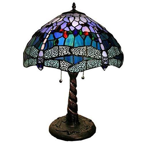JYL Tiffany-Stil Stehlampe hoch lila blau Lavendel Glasmalerei Lampenschirm 2 Licht antike Basis Schlafzimmer Wohnzimmer Schlafzimmer Nachttisch Lampe Leselampe gesetzt (Antike Glasmalerei)