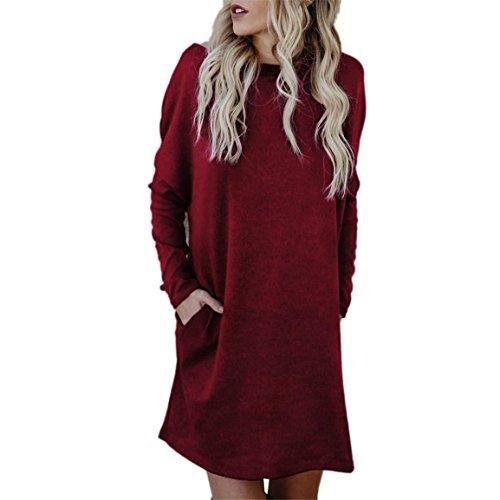 Robe à manches longues pour dames,Bellelove Mode féminine robe lâche longue robe Pull Jumper Casual Dress, robe de soirée pour les femmes, O-Neck robe pull en coton (UE 40 / Asie XL, Rouge)