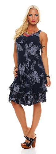 ZARMEXX robe d'été longueur genou couche double Coton Robe De Plage col en V floral entièrement imprimé Marine