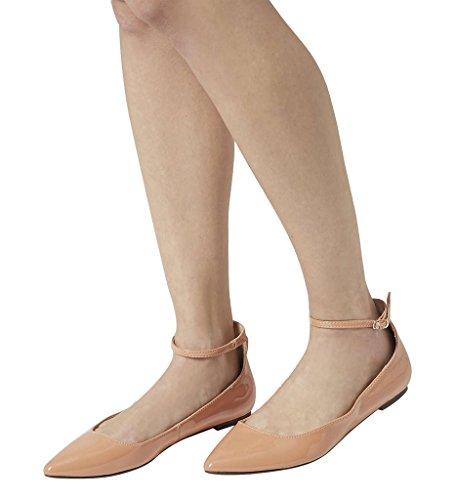 Guoar Damen Flache Große Größe Spitzschuh Knöchelriemchen Schnalle Ballerinas Natural