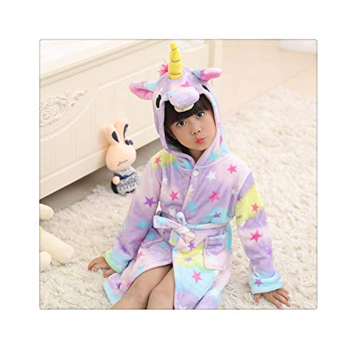 Flannel Cartoon Animal Shape Cosplay Boy Child Girl Bathrobe Baby Pajamas Home Service Halloween Party Gift 02 7T ()