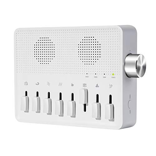 Máquina De Ruido Blanco Para Dormir, Máquina con múltiples usos, 7 sonidos naturales y 1 ruido blanco, con funciones de memoria y temporizador con cable USB, Aparato para ayudar a conciliar el sueño