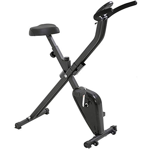 T- LoVendo TLV- XB01 Bicicleta Estatica Plegable Tipo X Entrenamiento Fitness Cardio Pantalla LCD,  Negro