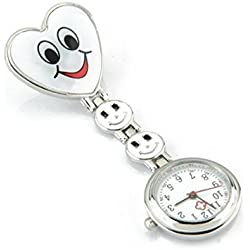 SODIAL(R) White Heart Quartz Movement Clip Nurse Brooch Fob Tunic Watch Smiley Face