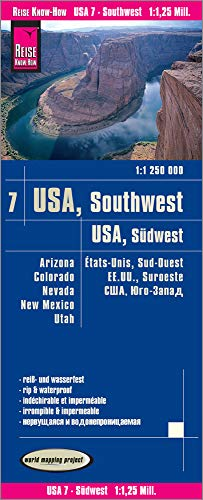 Reise Know-How Landkarte USA 07, Südwest (1:1.250.000) : Arizona, Colorado, Nevada, Utah, New Mexico: reiß- und wasserfest (world mapping project)