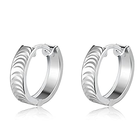 14ct 585 White Gold Diamond-Cut Circle Wide Band Huggie Hoop Earrings, Birthday Jewellery Gift for Women Girls Teens