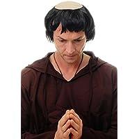 WIG ME UP ® - 90776-ZA103 Peluca hombres Carnaval viejo monje calvo tonsura negro Abad época medieval
