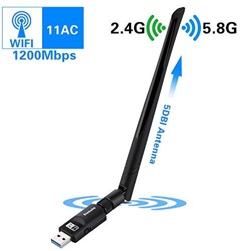 Elekele® Wlan Stick 1200Mbit/s, 5dBi Antenna, Dualband(5.8G/866Mbps + 2.4G/300Mbps) Wireless USB Wifi Adapter, 802.11 ac/n/g/b/a USB Wifi Dongle für Windows 10/8.1/8/7/XP/Vista/MAC OS/Linux 2.6