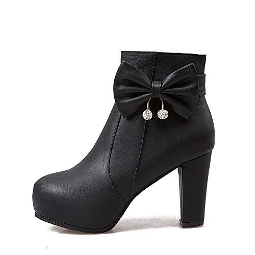 AgooLar Damen PU Mitte-Spitze Rein Reißverschluss Blockabsatz Stiefel mit Anhänger, Schwarz, 38
