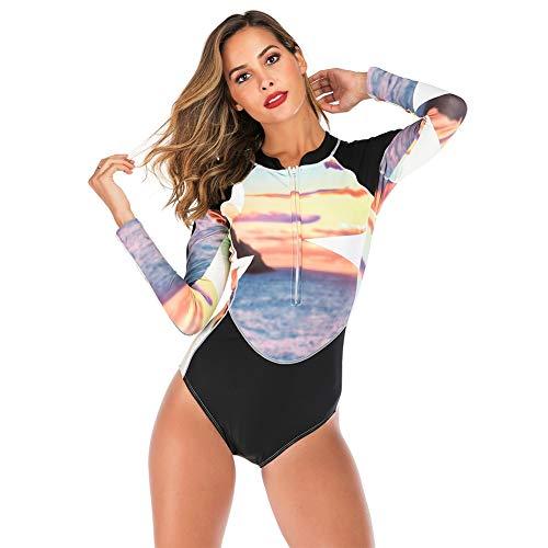 Traje de Buceo para Mujer, Camisas de Neopreno Baño Mujeres Protección Solar UV UPF 50 + con Cremallera Impresa Traje de Bañador Floral de Manga Larga Camiseta para Buceo Natación Surf