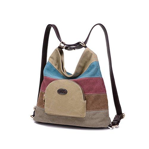 stile Stile Borsa F Bag Vintage Signore Donna kim Borsetta Multicolor Messenger khaki Q Multifunzionale Delle Tela Borse