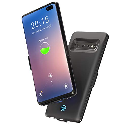 fitmore Samsung Galaxy S10 Plus Battery Hülle Case, Samsung Galaxy S10 Plus Battery Portable ChargerPremium Charging Hülle Case [ Black ] Extended Battery Juice Power Hülle Cases (Custom Light Switch)