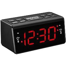 Retro Radio despertador con proyector iluminación Despertador Digital Reloj Radio Con Radio Fm Función Snooze con LED rojas Día flexible Negro
