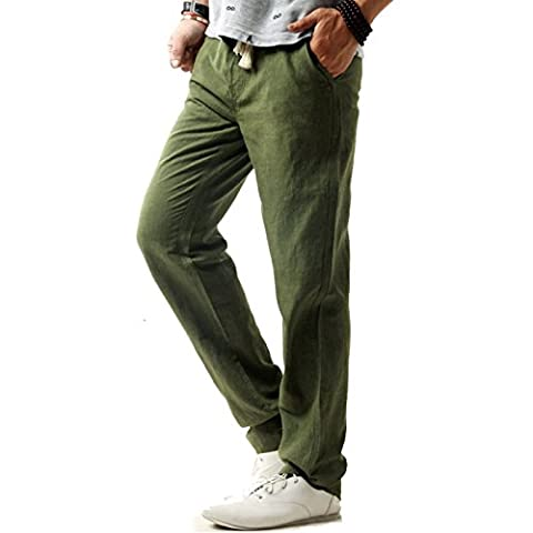 donhobo Men's Casual Linen Pants Drawstring Elastic Waist Trousers Loose