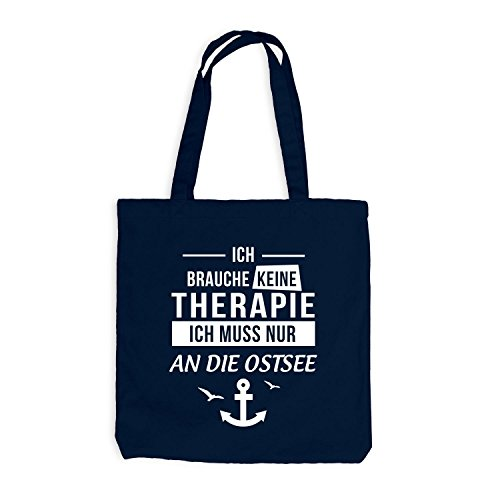 ShirtFlow Jutebeutel - Ich Brauche Keine Therapie Ostsee - Anker Möwen Maritim, Navy