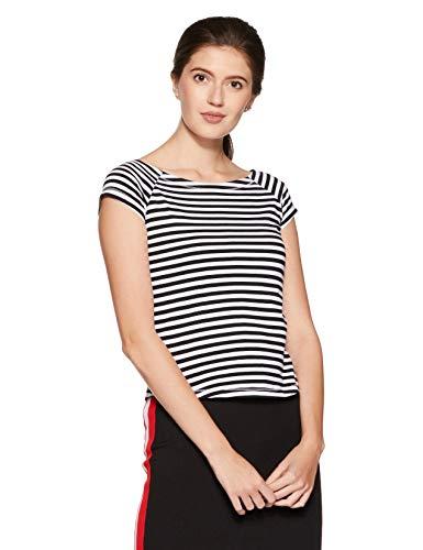 Amazon Brand- Symbol Women's Striped Slim Fit T-Shirt (WTST12-Black & White-M)