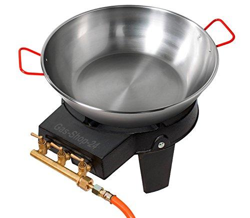 Wokbrenner Set / Gaskocher 9,2 KW mit Gasschlauch + Druckminderer + 40 cm Stahl Wokpfanne / Paellapfanne (Gusseisen Hockerkocher, Asia Kocher, Gastrokocher, Gasherd, Campingkocher für Wok)