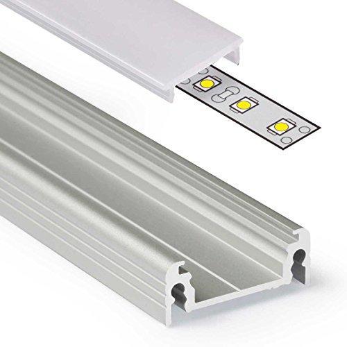 2m Aluprofil SURFACE14 (SU14) 2 Meter Aluminium Profil-Leiste eloxiert für LED Streifen - Set inkl Abdeckung-Schiene milchig-weiß opal mit Montage-Klammern und Endkappen (2 Meter milchig click) -