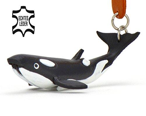 Wal Willy - Orca Schlüsselanhänger Figur aus Leder in der Kategorie Stofftier / Kuscheltier / Plüschtier von Monkimau in schwarz weiß - Dein bester Freund. Immer dabei! - 5x2x4cm LxBxH klein, jeweils 1 Stück