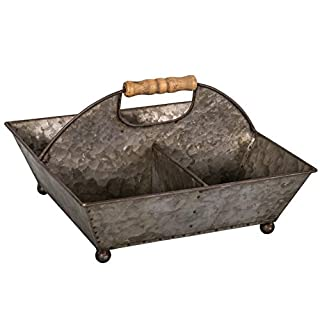 Antic Line Zinc basket with 4 compartments with wooden handles