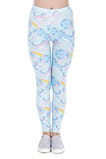 TRVPPY Leggings Gym Workout Sports Wear Hose Yoga Pants Training Fitness Print, Modell Unicorn Clouds Einhorn
