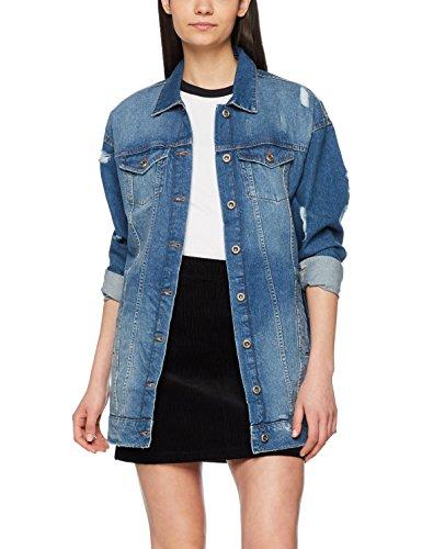 ONLY Damen Jeansjacke Onlcrispy Long Denim Jacket MB Noos, Blau (Medium Blue Denim Medium Blue Denim), X-Large (Herstellergröße: 40) (Jacken Frauen Für Down Long)