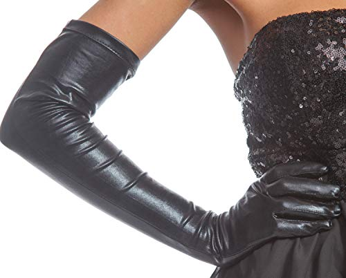 Schwarze Handschuhe Kostüm Leder - jowiha® Lange Leder Optik Handschuhe in Schwarz ca. 53 cm