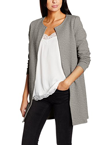 VILA CLOTHES Damen Blazer Vinaja New Long Jacket-Noos, Grau (Light Grey Melange), 38 (Herstellergröße: M)