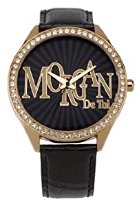 Morgan M1089RG Ladies Watch Quartz Analogue Black Dial Black Leather Strap