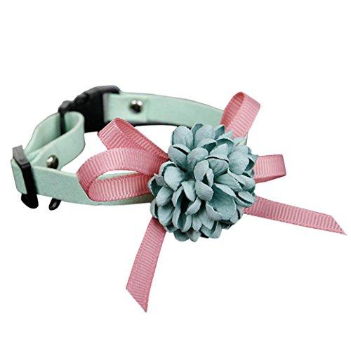 Hmeng Hundehalsband, Hund Katze Haustier Welpen Wasserdichte Niedlich Blume Bowknot Halsband Einfarbig Verstellbar Halsbänder Wildleder Schnalle Halskette für Weihnachten Party Hochzeit (15-22cm, Rosa)