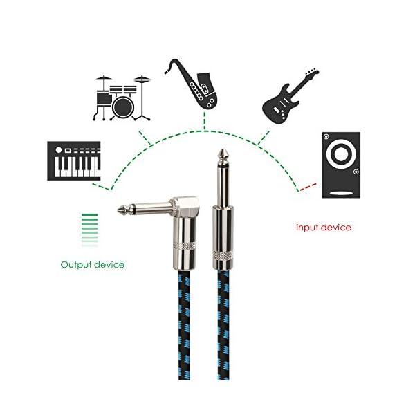 Mugig Cavo Jack 5m Maschio a Maschio professionale per Chitarra Basso Tastiera con Rivestimento in Tweed Jack 6,3 mm da diritto a angolo destra