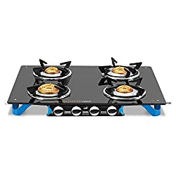 Vidiem Glass 4 Burner Gas Stove, Black (VDM_AIR Stile Plus 4 B_BLK)