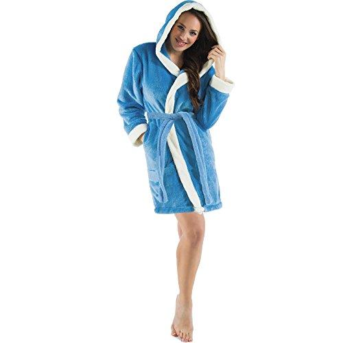 CelinaTex Damen Bademantel mit Kapuze, Flauschiger Sherpa-Fleece, Kurzer Saunamantel für Wellness Spa, 5000630, Trend Morgenmantel Serie Kos L Blau Natur