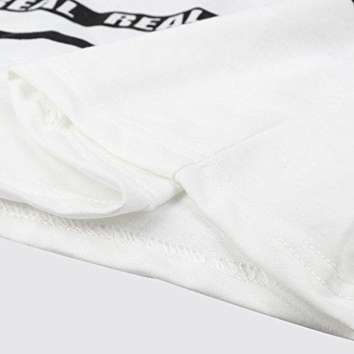 AMUSTER-Donne-Moda-Bianco-Breve-Lettera-Stampa-Colture-Felpa-Top-Camicetta