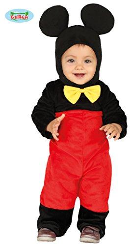 Guirca- costume topolino neonato 12/24 mesi, colore rosso,nero e giallo, 1-2 anni, 88376