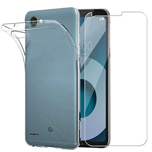 Cover lg q6 + hd pellicola protettiva in vetro temperato, easybee silicone caso molle di tpu cristallo trasparente ultra sottile anti scivolo anti-urto custodia per lg q6