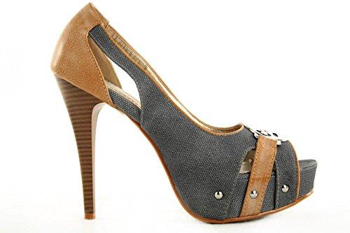 Damenschuhe High Heels Plateau Pumps Lederoptik Sandalette iZ9658 Grau
