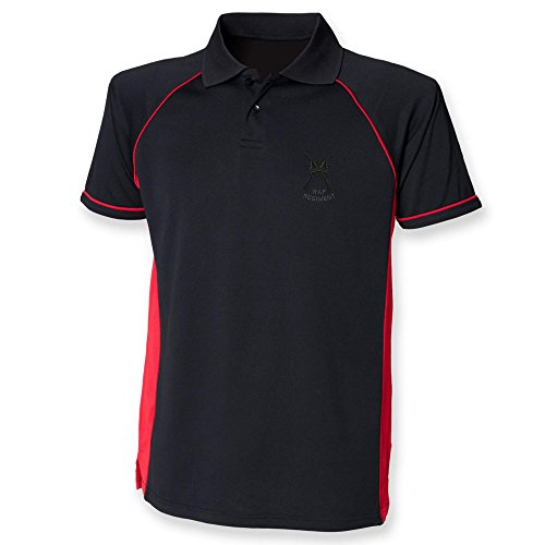 RAF Regiment Performance Polo Schwarz - Schwarz / Rot