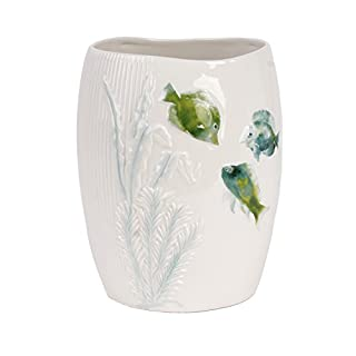 Saturday Knight Wastebasket, Ceramic, Aqua