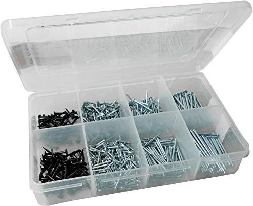 Connex Nagel-Sortiment 750-teilig - Nägel & Kammzwecken im Set - Vorsortiert in praktischer Kunststoffbox - Geeignet für Haus, Hobby & Werkstatt / Sortimentskasten / Sortimentsbox / DP8500030
