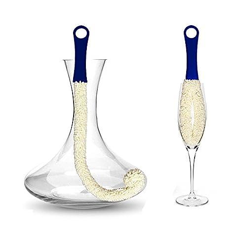 Brosse de nettoyage pour verres à vin rouge Carafe à décanter Bouteille Tasse Verres Cristal Goblet en mousse souple Outil de nettoyage Lot de 2