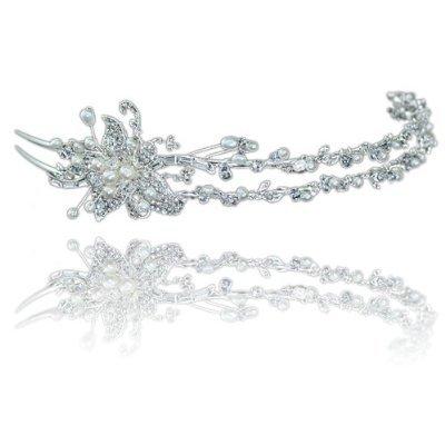 Funkelndem Kristall Strass und Perlen Blumen Elegante Seite Diadem Tiara