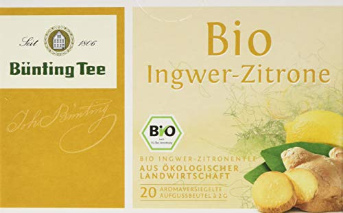 Bünting Tee Bio Ingwer-Zitrone 20 x 2 g Beutel, 12er Pack (12 x 40 g) -
